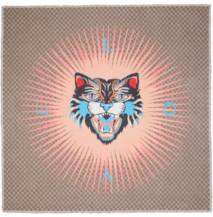 Gucci Cat Face Love-print GG scarf