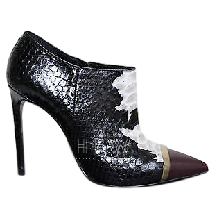 Saint Laurent capped-toe black & white python ankle boots