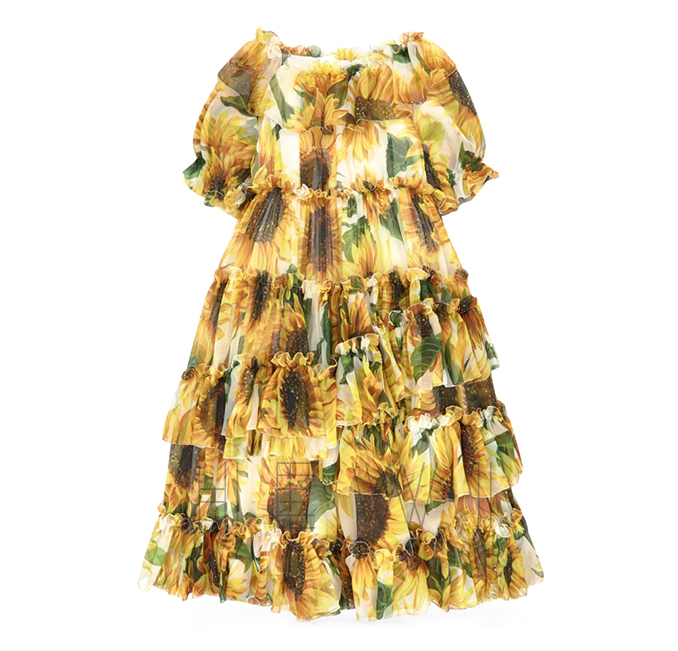 Dolce & Gabbana Mini Me silk voile sunflower dress