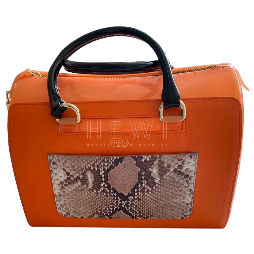 Furla Snakeskin Panel Candy Tote Bag