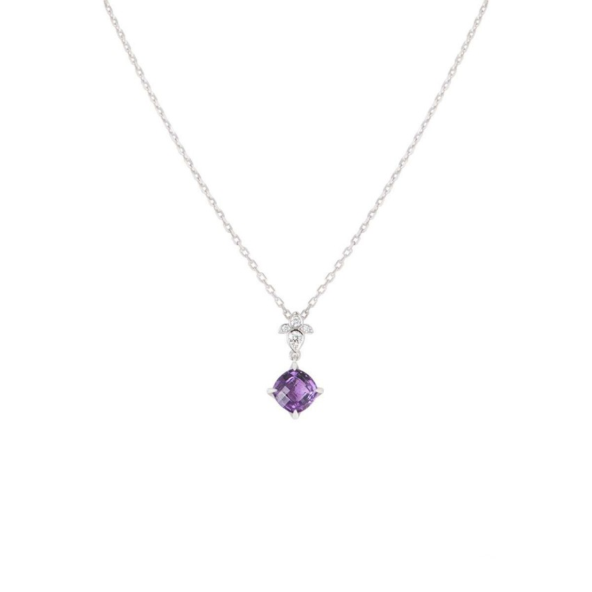 Cartier White Gold Amethyst Drop Diamond Necklace