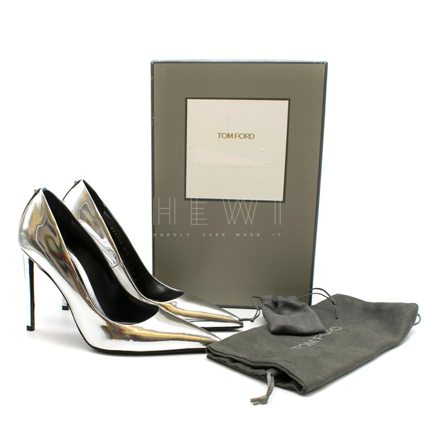 Tom Ford Silver Mirrored Leather Pumps
