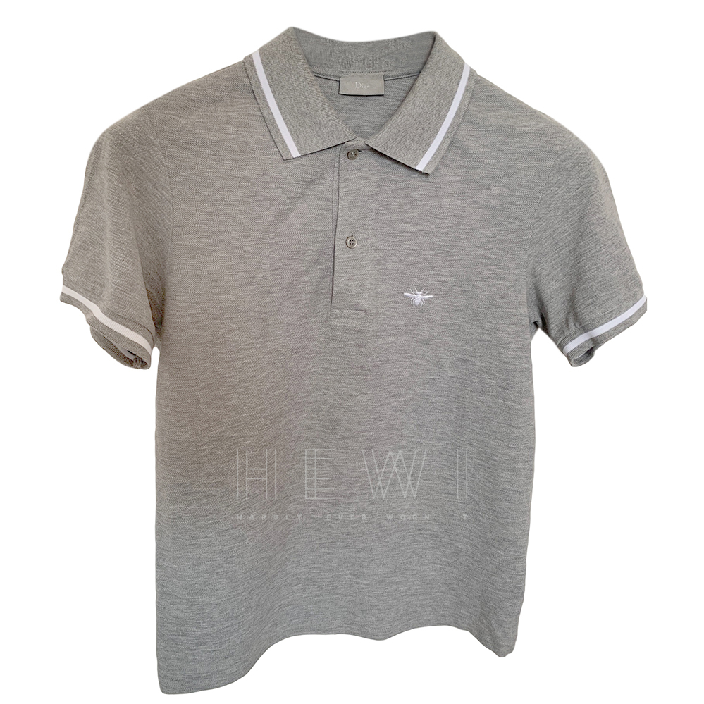 Dior bee-embroidered grey polo shirt