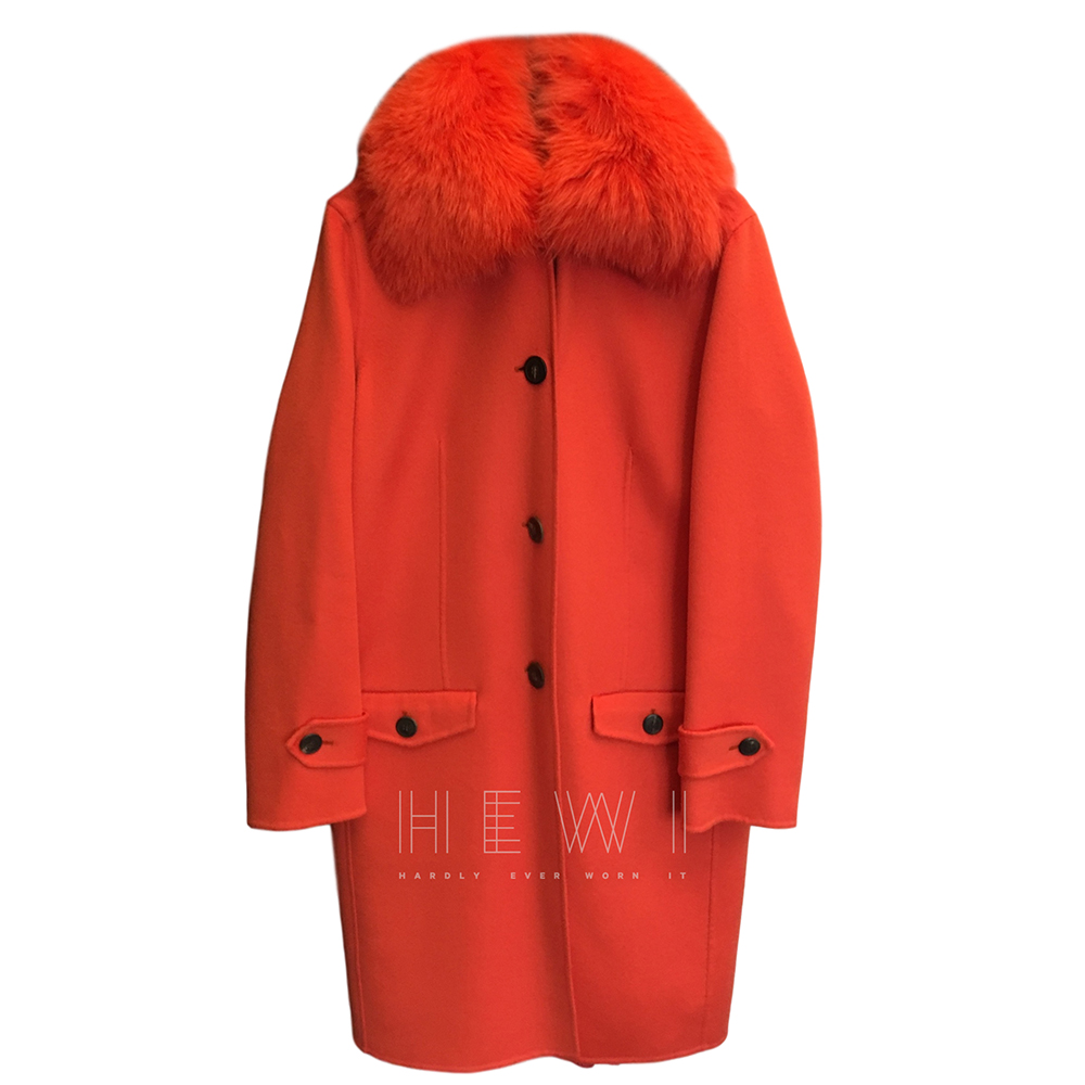 Christian Dior double faced cashmere coat w/ fox fur collar