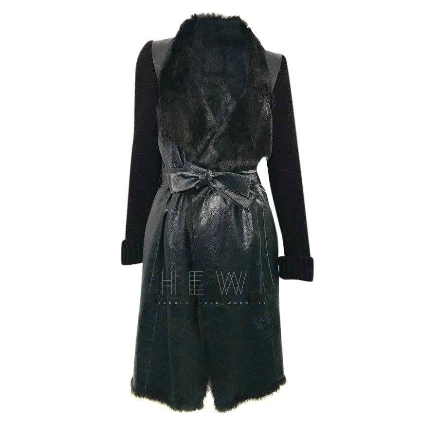 Joseph Rabbit Fur Lined Wrap Coat