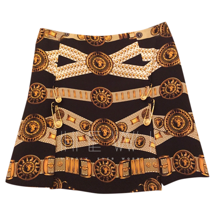 Versus Versace Pleated Medusa Mini Skirt