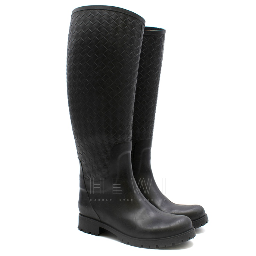 Bottega Veneta Nero Intrecciato Rubber Rainboot