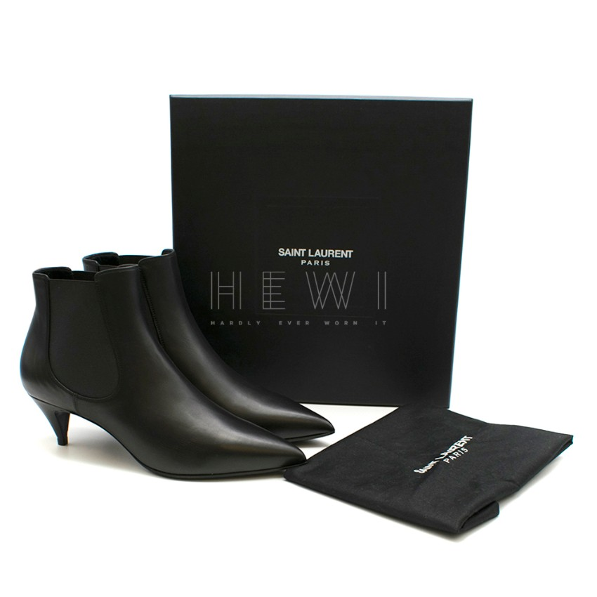 Saint Laurent Black Leather Kitten Heel Ankle Boots