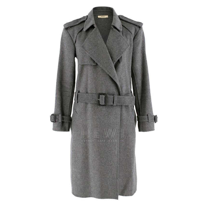 Celine Grey Wool A-Line Belted Coat
