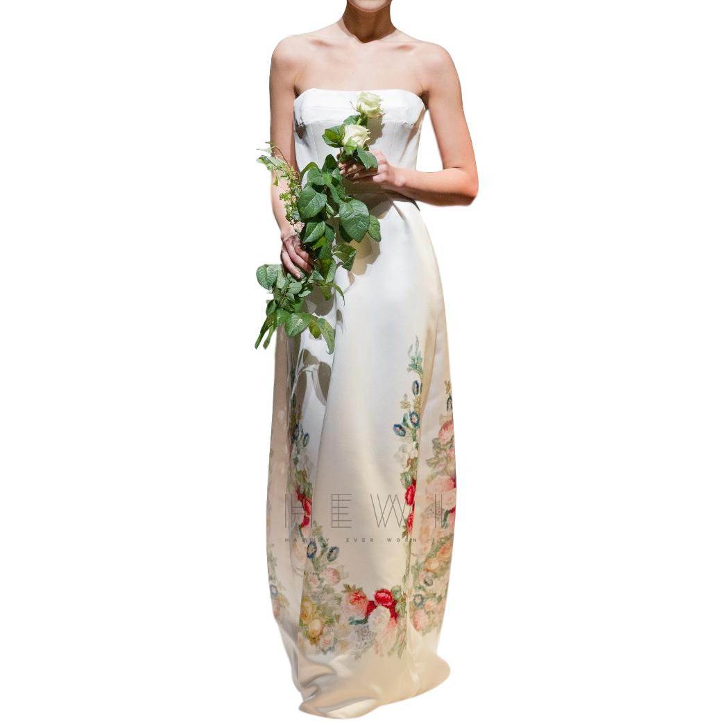 David Fielden Floral Printed Strapless Ivory Wedding Dress