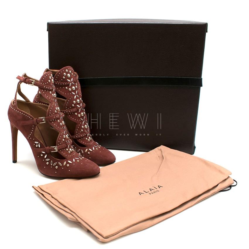 Alaia Burgundy Studded Muilti-Strap Sandals