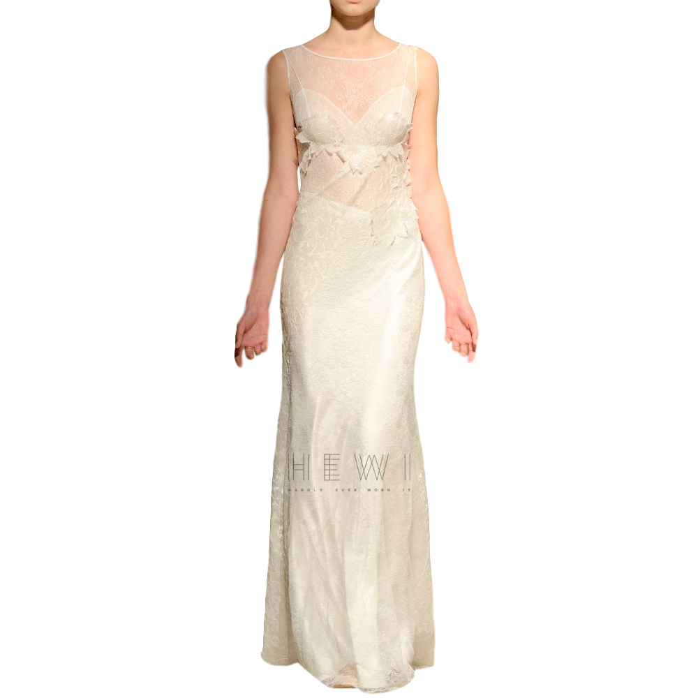 David Fielden Nude Bridal Gown With Sequin Lace Overlay