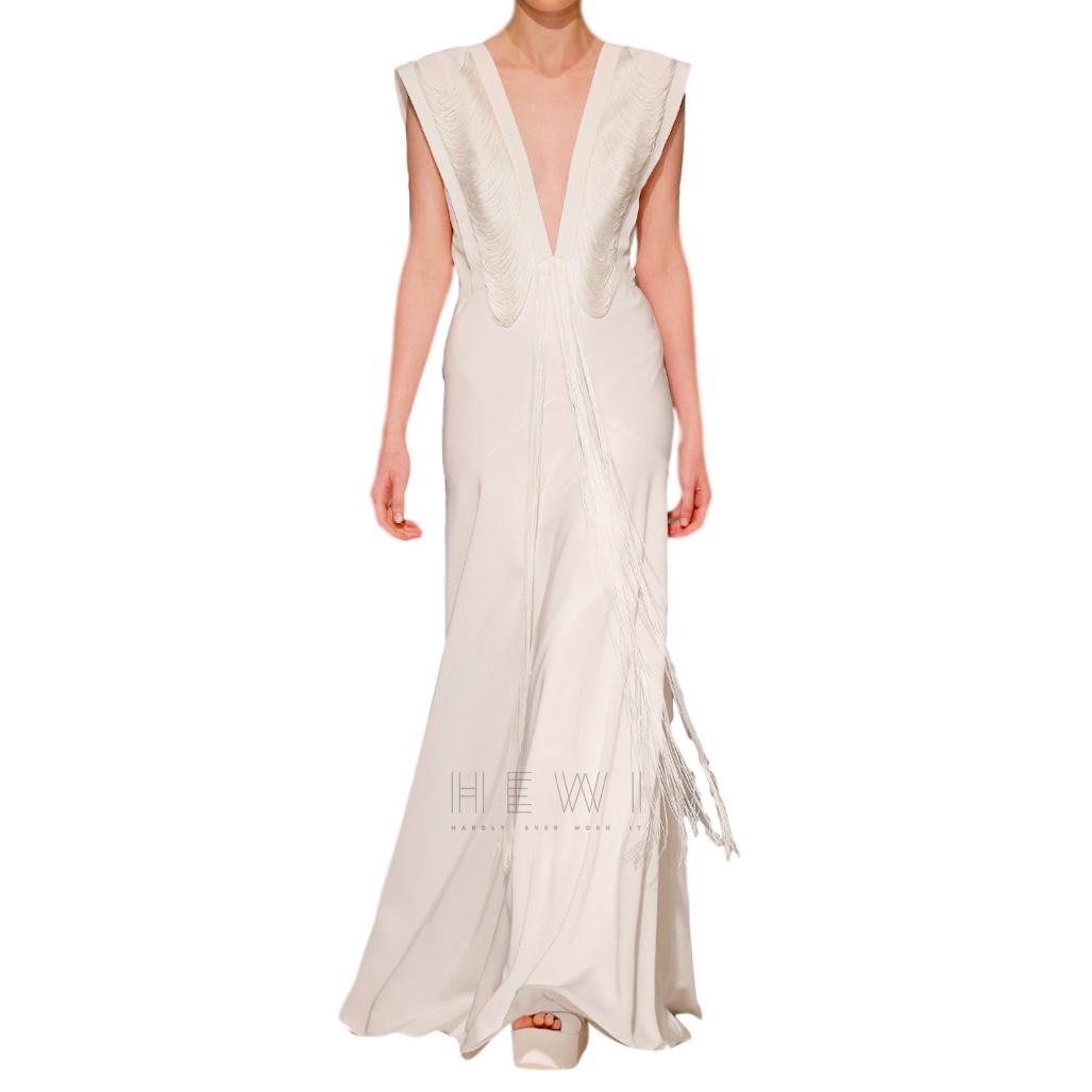David Fielden Satin Crepe Fringed V-Neck Bridal Gown