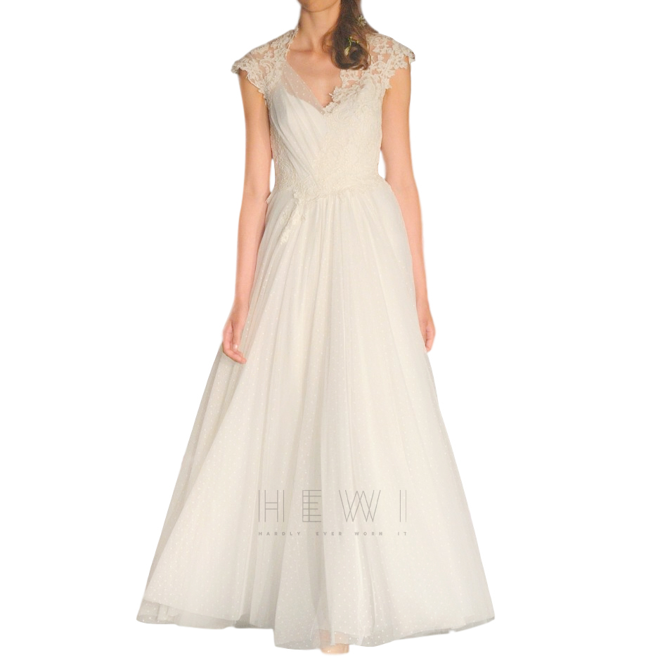 David Fielden Tulle Lace Embroidered Bridal Gown