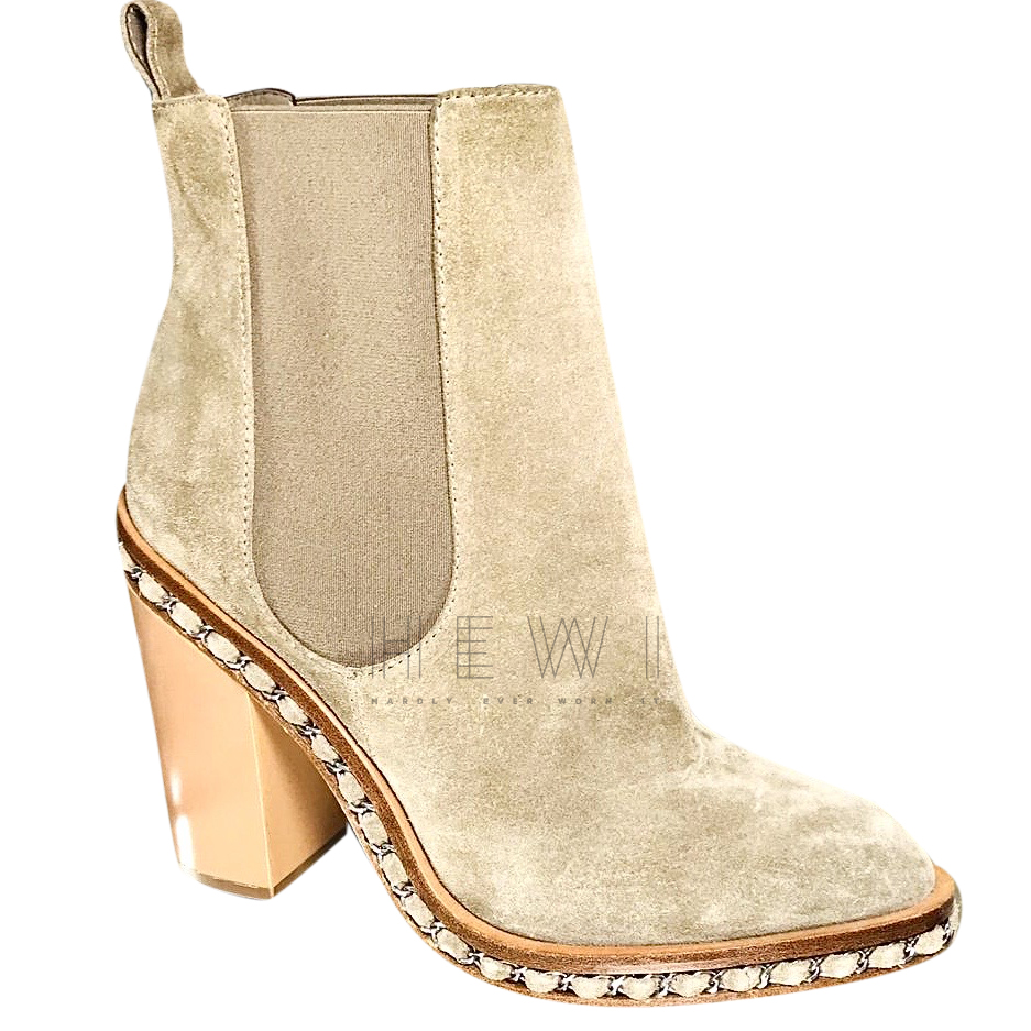 Chanel Suede Chain Trim Ankle Boots