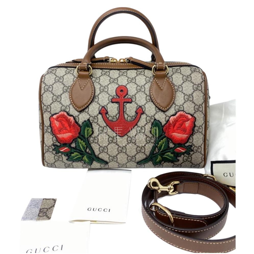 Gucci Embroidered Supreme Monogram floral Boston Tote Bag
