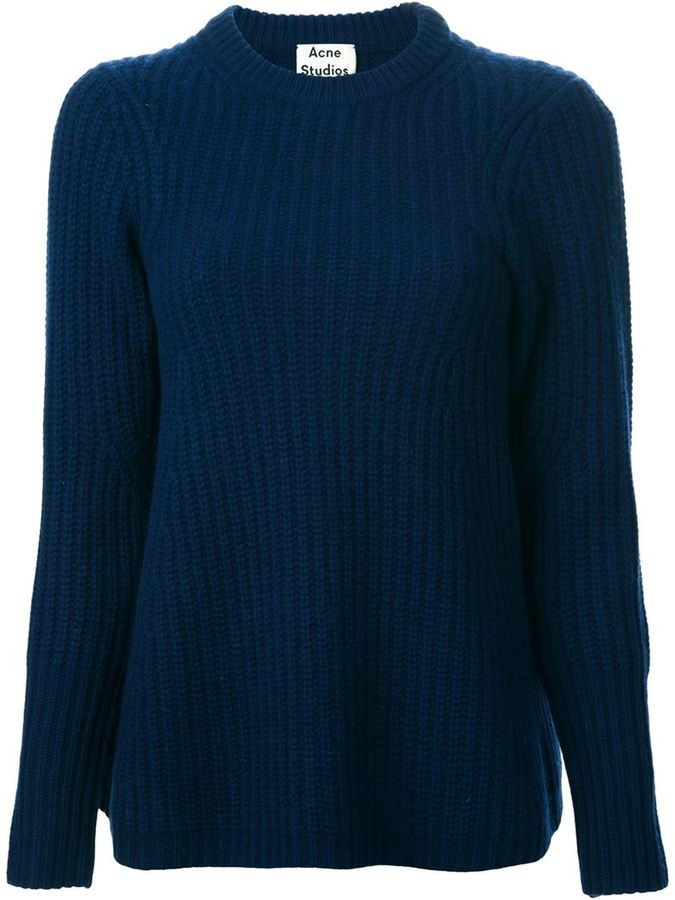 Acne Studios Dixie Wool Knit Sweater in Navy