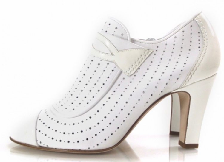 Chanel Perforated white leather booties
