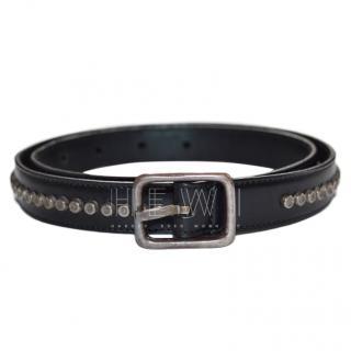 Saint Laurent Black Leather Studded Belt