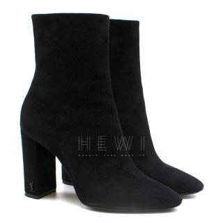 Saint Laurent Suede Heeled Ankle Boots