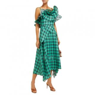 Osman Julie check-print ruffle-bodice linen midi dress