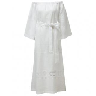 Lisa Marie Fernandez Off-Shoulder White Midi Dress