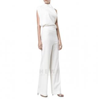 Osman Open-back gathered wool-blend jumpsuit