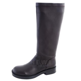 Jim Sander long flat  leather riding boots