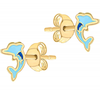 Carissima Gold Chick and Dolphin stud earrings