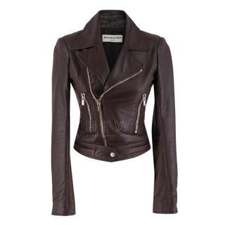 Balenciaga Maroon Leather Biker jacket
