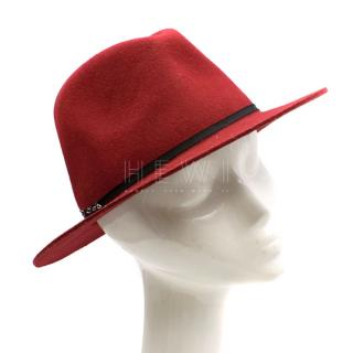 Maison Scotch Red Wool Fedora