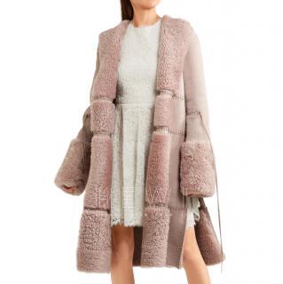 Alexander McQueen reversible antique pink shearling coat