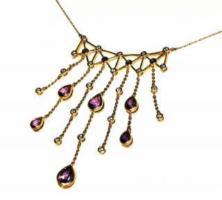 Bespoke amethyst laviere droplet necklace