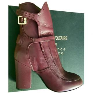 Zadig & Voltaire burgundy ankle boots