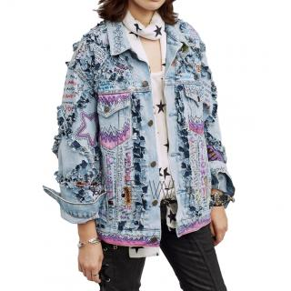 Faith Connexion Hand Painted Patchwork Graffiti Denim Jacket