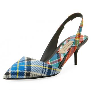 Burberry Annice Tartan Slingback Sandals