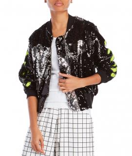Off-White C/O Virgil Abloh Black Sequin Bomber Jacket