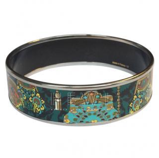 Hermes enamel purse palladium-plated bangle