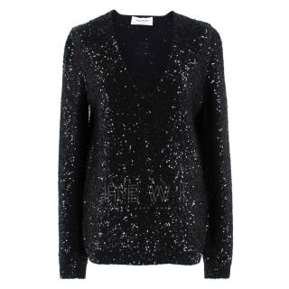Yves Saint Laurent Black Sequin-Embellished Wool Sweater