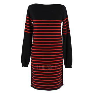 Louis Vuitton Black & Red Striped Wool Dress