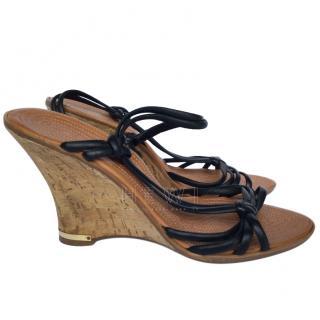 Chloe black leather multi-strap wedge sandals