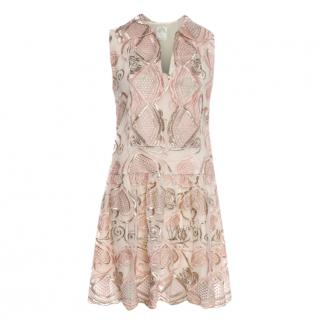 Anna Sui embroidered-lace sleeveless dress