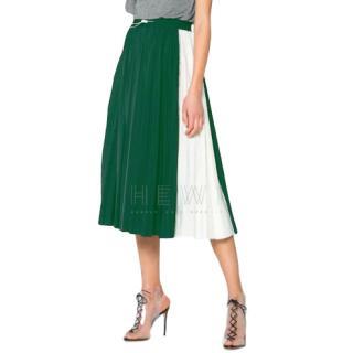 Valentino lace-insert green pleated midi skirt