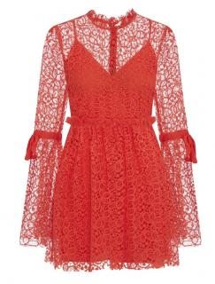 Alice McCall bishop-sleeved red lace dress