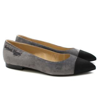 Chanel grey suede point-toe flat pumps
