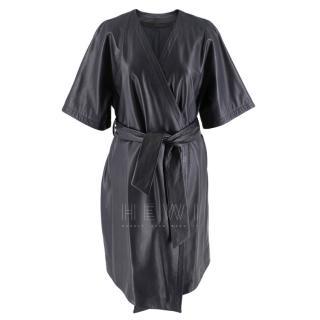 DROMe Navy Leather Wrap Dress