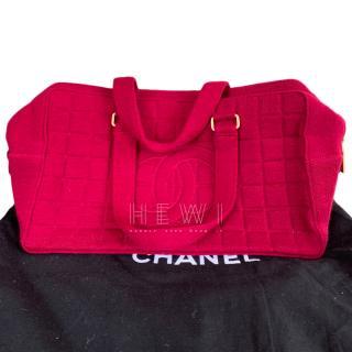 Chanel vintage dark-pink holdall