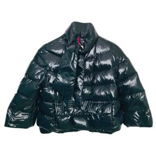 Moncler cropped black high-shine quilted jacket