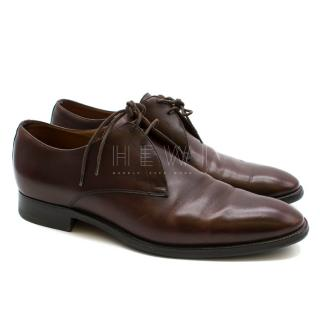 Hermes Brown Leather Derby Shoes