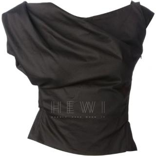 Vivienne Westwood Glendy black asymmetric draped top